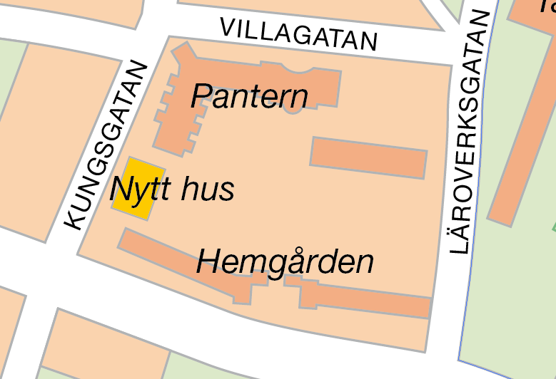 Placering bostadshus i kv Pantern